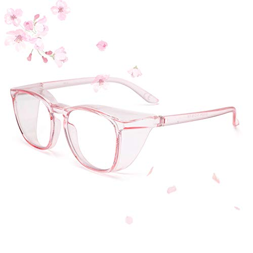 Gafas de seguridad de gran tamaño con protectores laterales anti niebla, pulverización y polvo, marco grande, antirayos azules y rayos UV, color rosa
