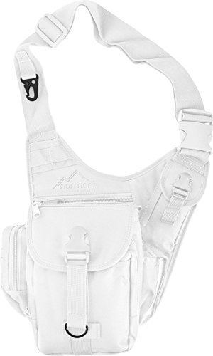 normani Schultertasche, Multifunktions Umhängetasche für Damen und Herren Military Tactical Rucksack Brusttasche Sling Bag für Radfahren Wandern Camping Freizeit Uni Schule Farbe Weiß