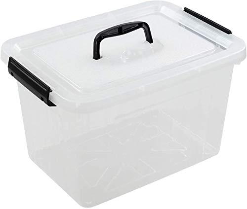 Cajas de almacenaje Blander Storage Bins   Caja de plástico apilable con Tapas y Asas   Ahorro de Espacio y Conveniente para Llevar.