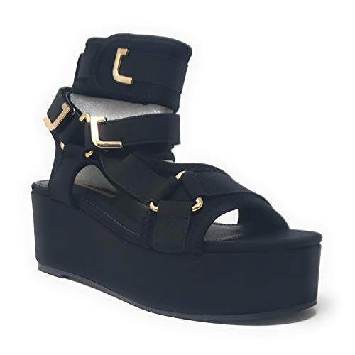 Liliana Women's Strappy Elastane Harness Chunky Platform Wedge Heel (8, Black)