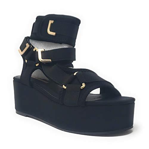 Liliana Women's Strappy Elastane Harness Chunky Platform Wedge Heel (10, Black)