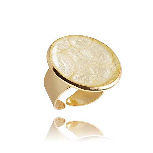 Bequem Elfenbein Vergoldet Ringe Geschenkbox für Damen; Lässig Creme Geburtstag Schmuck Dragon Porter; Verstellbar, Design Durchmesser 2.5cm