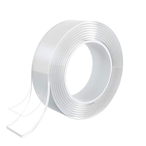 D.RECT Nano Tape 3m, 3cm | Doppelseitiges Klebeband | Transparent Entfernbares Wiederverwendbares Klebestreifen | Mehrfach Verwendbare Klebestreifen