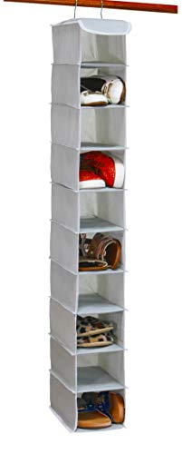 Simple Houseware 10 Shelves Hanging Shoes Organizer Holder for Closet, Grey