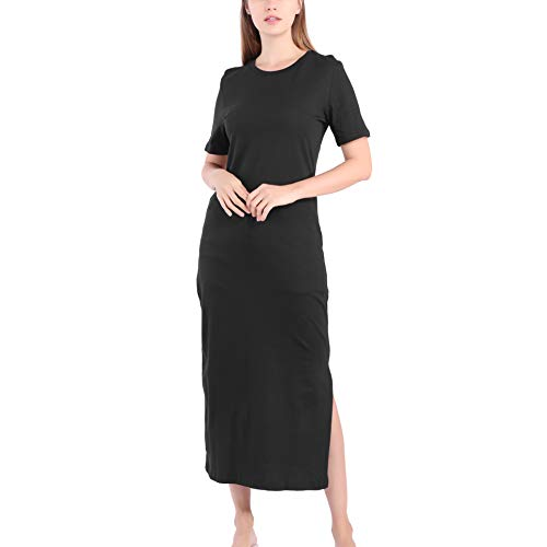 Maxi T Shirt Dress Women Summer Beach Casual Work Vintage Sexy Black Bodycon Party Long Dresses Sundress Plus Size (Black, Small)