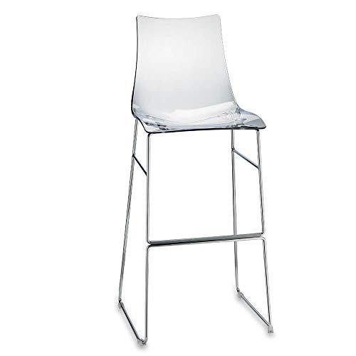 Scab Set 2 Design Zebra Antishock Chaise Pied traîneau Tabouret h. 80 cm Transparent