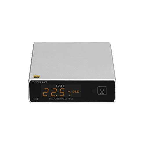 Topping E30 Mini-Stereo-DAC HiFi AK4493 Koaxialer Glasfaser-USB-Eingangskonverter 32-Bit / 768-kHz-DSD512-Decoder für Heimkino-Spielemusik Silber