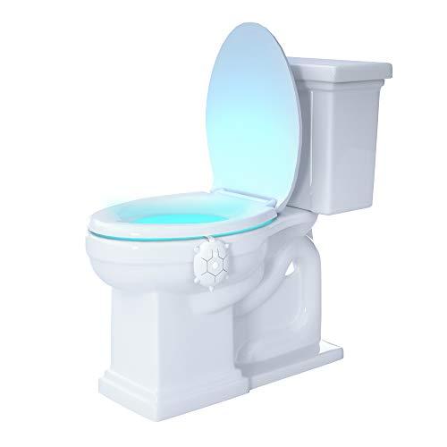 MAZ-TEK Toilet Night Light with Motion Activated Sensor, 16-Color & Dimmable LED NightLight, Waterproof IP65 Bathroom Bowl Lights, Tortoise Birthday Gift Idea for Kids, Dad, Men, Women(White Shell)