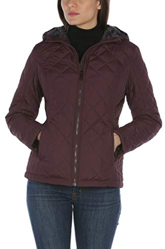 HFX Women's Quilted Cozy Sherpa Lined Jacket, Bordeaux, S