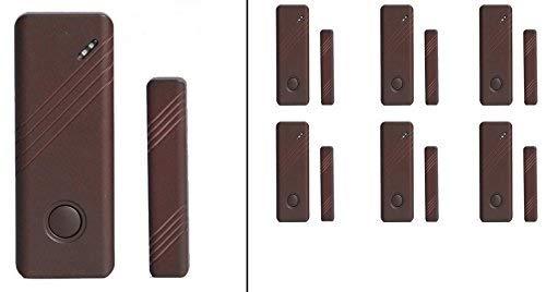 LKM Security Magnetischer Tür + Fensteralarm Set ● 6 Stück ● Kabellos | Ergänzung / Erzatz Für Alarmanlage | Sensor | Funk | Türkontakt - Fensterkontakt | Einbruchschutz | Schalter | Wireless | Braun