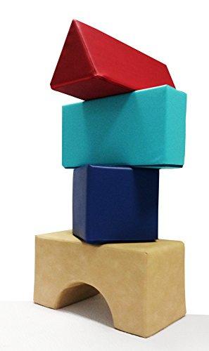 CM Spielpolster Set Schaumstoff Bausteine für kreatives Spielen, Bauen, Turnen. Großes Bausteine Set. Schaumstoffbausteine mit hochwertigem Kunstlederbezug.