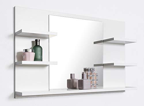 DOMTECH, Specchio da bagno con mensola, bianco, specchio da bagno