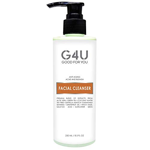 G4U Daily Face Wash and Facial Cleanser for Women and Men. For Sensitive, Dry, Oily, Normal, Combination, All Skin Types. Anti Aging, Acne and Blemish. Deep Pore Exfoliating and Moisturizing for Clean and Clear Skin. Natural Plant Based Ingredients loaded with Vitamin C. Ideal for use at Home, Spas and Salons. (8.5 Fl Oz)
