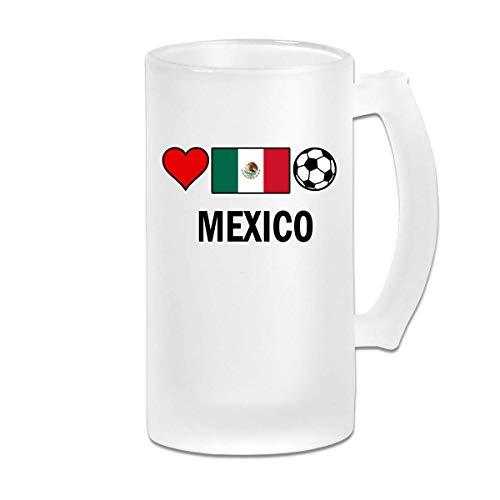 DJNGN Boccale di birra gelido a doppia parete Durable Mexico Football Soccer-1 Freezer Beer Cup con manico 16oz