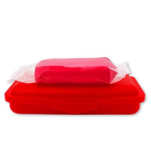 Reinigungsknete rot 200 g abrasiv + Aufbewahrungsbox - Polierknete Lackknete Clay-Bar Auto-Lack-Knete Lackpolitur - entfernt Baumharz Insekten Flugrost Farbspuren Bremsstaub u.v.m.