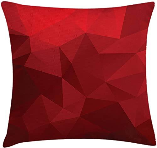 DRXX Funda de cojín para cojín Rojo, Mosaico Triangular en Tonos Rojos con Efecto polivinílico bajo geométrico y Abstracto, Funda de Almohada Decorativa Cuadrada Decorativa, 45 x 45 cm, Rojo rubí