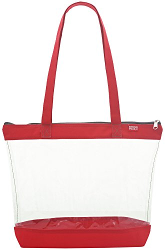 Clear Shoulder Tote with ZIPPER Closure, Red