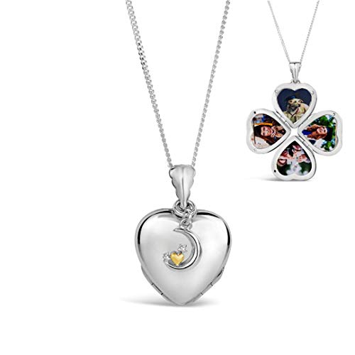 Lily Blanche Vrouwen Ketting 18 Karaat Wit Goud Vier Foto Hartje Charm Locket Ontworpen in Groot-Brittannië
