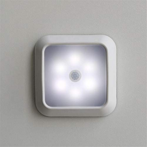 XHSHLID lichtsensor met 6 leds, automatische bediening, mini-nachtlampje, werkt op batterijen, wandlamp voor hal, kasten, trappen, badkamer, slaapkamer