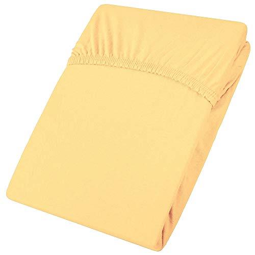 aqua-textiel Viana hoeslaken 140x200-160x200 cm geel hoeslaken katoen