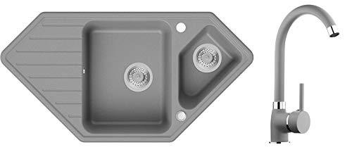 Spülbecken Grau 97 x 49 cm, Eckspüle + Küchenarmatur + Siphon, Granitspüle ab 80er Unterschrank in 5 Farben mit Armatur Varianten, Küchenspüle von Primagran