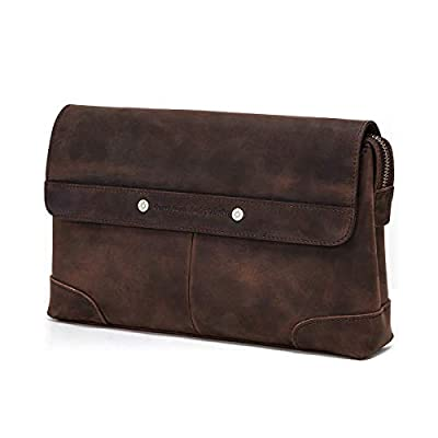 Contacts Mens Genuine Leather ID Card Phone Holder Zipper Coin Key Clutch Purse Handbag 7.9 inches iPad Bag (Dark Brown)