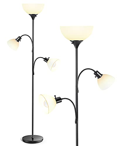 SELECTID Floor Lamps for Living Room, Tall Standing Gooseneck Torchiere Corner Lamp Reading Lights with 9W 5W 3000K LED Energy Saving Bulbs Adjustable Elegant for Bedroom Office