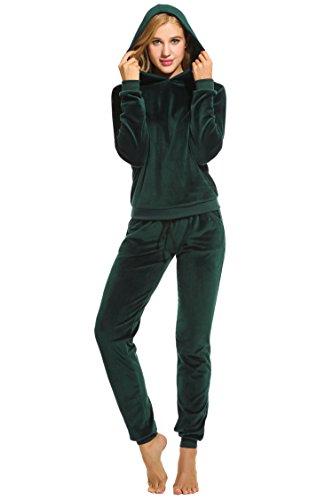 UNibelle Donna Tute Felpa con Cappuccio Tuta Training Sportivo Due Pezzi Felpa +Pantaloni Casual Tuta Invernale Autunno Verde