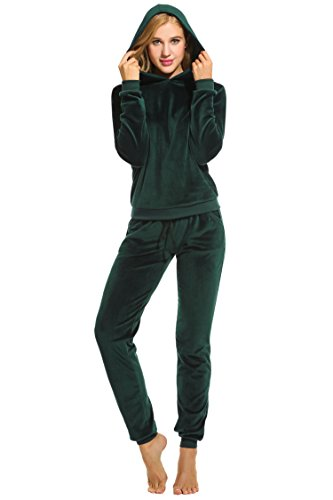 Womens Fashion Tracksuit Striped Two-Piece Jogging Suit Long Sleeves Zipper Top Long Trousers