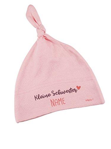 Striefchen® Zartrosa Babymütze mit Namen - kleine Schwester - zur Geburt