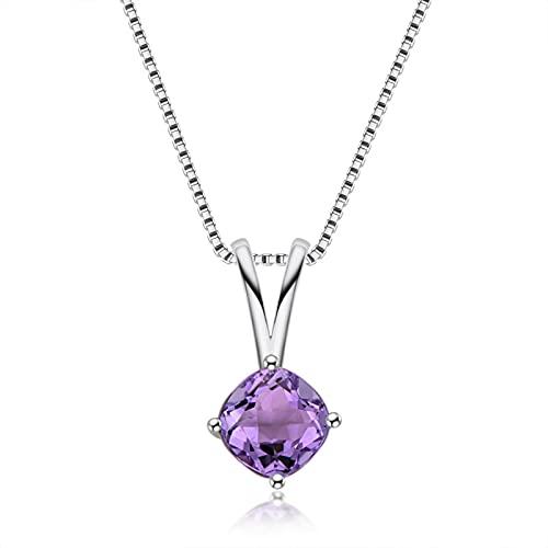 GYAM Collar 925 Plata Natural Amatista/Topacio Simple Colgante Collar para Mujer, Púrpura