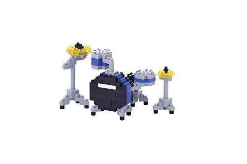 nanoblock NBC-172 - Drumset Blue / Blaues Schlagzeug, Minibaustein 3D-Puzzle, Mini Collection Serie, 170 Teile, Schwierigkeitsstufe 2, mittel