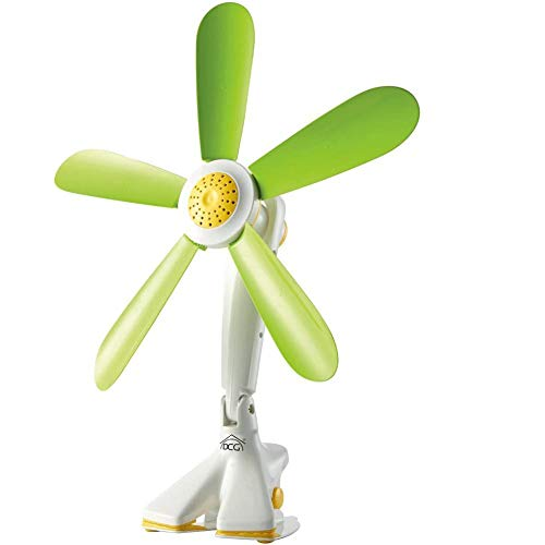 Mini Tischventilator mit Clip Ventilator-Schreibtisch leise mit 5Flügel Kunststoff weich Durchmesser 42cm für Büro Haus Design Blume 7W Farbe grün gelb DCG ve1242