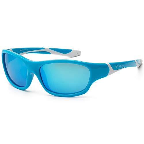 koolsun Niños Gafas de sol Sport 3 – 6 años, aqua & White + ICE BLUE Revo lente | 100% protección UV | Optical Clas 1, cat. 3