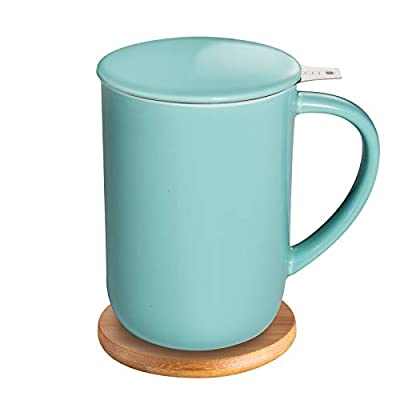 CEEFU Porcelain Tea Mug with Infuser and Lid, Teaware with Filter and Coaster, Loose Leaf Tea Cup Steeper Maker, 16 OZ for Tea/Coffee/Milk/Women/Office/Home/Gift (Turquoise)