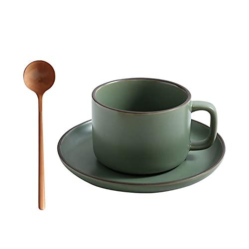 Juego de Tazas de té y Platillo con Taza de Café, Platillo y Cucharadita la Mañana Mejorará el Sabor de Nuestra para el Regalo de la Oficina del Restaurante