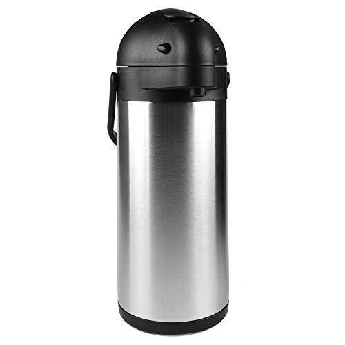 ZZCCYY thermoskan pompkan, 3 liter, roestvrij staal, thermosfles, isoleerkan met 12 uur warmte-opslag, thermoskan met 24 uur koude-opslag, koffiepot