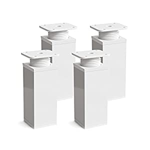 Patas para muebles, 4 piezas, altura regulable | Perfil cuadrado: 40 x 40 mm | Sossai® MFV1-WH | Diseño: Blanco | Altura: 100mm (+20mm) | Tornillos incluidos