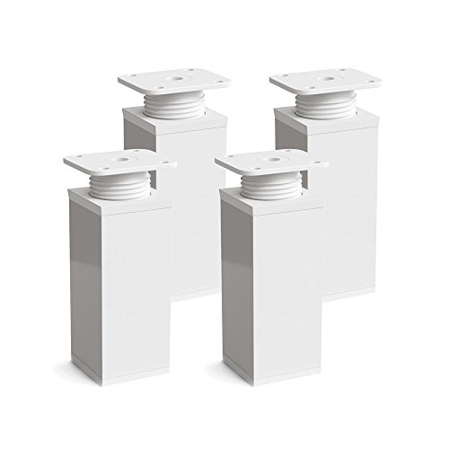 Design-Möbelfüße, 4er Set, höhenverstellbar | Vierkant-Profil: 40 x 40 mm | Sossai® MFV1-WH | Farbe: Weiß | Höhe: 60mm (+20mm) | Material: Aluminium | Holzschrauben inklusive