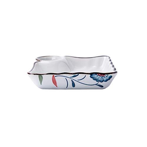 Wit Keramisch servies, Vierkante Dumpling Schaal, Fruit Plate Soepplaat met Afzonderlijke Saus Schaal 7.3×1.6