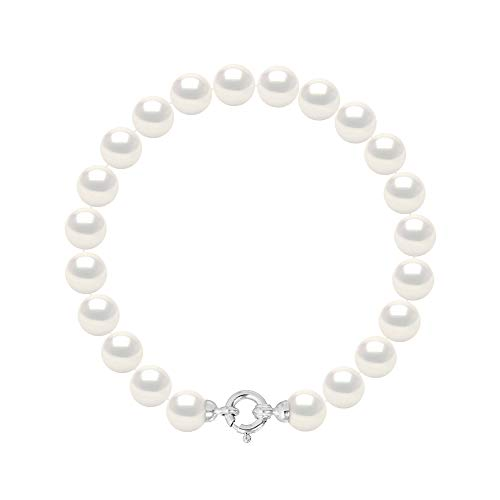 Pearls & Colors - Bracciale Perle di Coltura d'Acqua Dolce Rotonde - Colore Bianco Naturale - qualità AAA+ - Diverse Misure Disponibili - Anello Marino Oro Bianco - Gioielli Donna