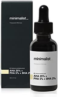 Minimalist AHA 25% + PHA 5% + BHA 2% Peeling Solution for Glowing Skin, Smooth Texture & Pore Cleansing | Weekend Facial E...