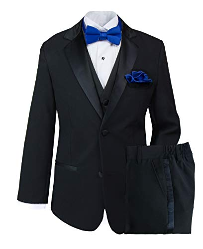 Spring Notion Big Boys' Tuxedo Set with Bow Tie and Handkerchief 18 Black-Royal Blue