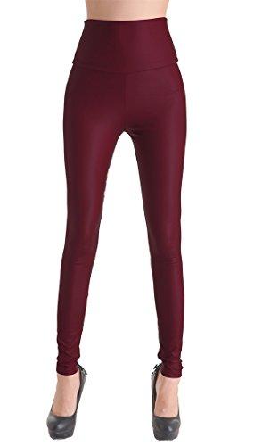 elástico de piel sintética PU Leggings Leggins de piel sintética PU-óptica, cadera de pantalones de piel sintética Treggins enjutos