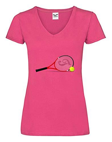 T-Shirt V - Tennisschläger Tennis Tennisball Kugel - Tshirt für Damen und Frauen mit V-Ausschnitt