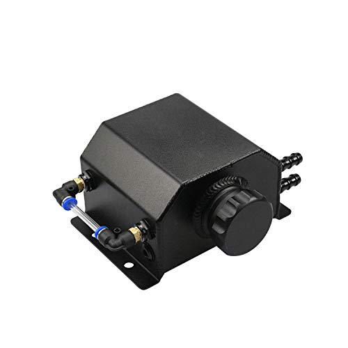 TASAN RACING Universal 1L Aluminum Alloy Square Oil Catch Tank Polished Reservoir Oil Can Tank Black