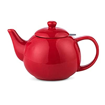 Porcelain Tea Kettle Ceramic Tea Pot with Stainless Steel Infuser Blooming and Loose Leaf Tea Pot 34 Ounces Teaware Red