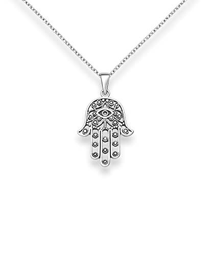 Collar de plata de ley 925 de Hamsa, símbolo de la suerte, cadena con colgante para mujer, bonita joya para mujer, con caja de regalo