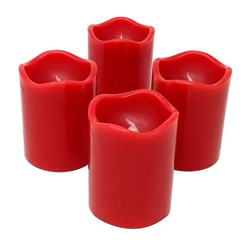 ToCi LED Kerzen Set Rot mit 4 flammenlosen Echtwachs-Kerzen (Ø7x9cm) mit flackerndem Licht und Timer