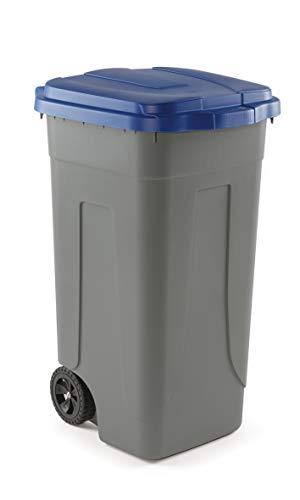 Mobil Plastic Bidone Raccolta differenziata Lt. 100 con ruote - Fondo grigio e Coperchio Blu